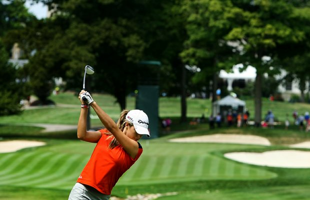 Jaye Marie Green hits her tee shot at No. 9 during the Round of 64 at the 112th U. S. Women's Amateur Championship. Green defeated Jenna Hague, 6&4.