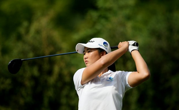 Su-Hyun Oh of Australia hits a drive during the Round of 64 at the 112th U. S. Women's Amateur Championship.