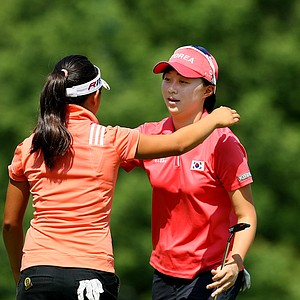 Hyo-Joo Kim hugs her opponent Megan Khang after winning 7&6 during the Round of 64 at the 112th U. S. Women's Amateur Championship.