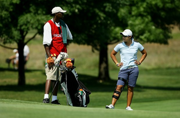 Cyna Rodriguez waits for Ani Gulugian to hit at No. 12 during the Round of 64 at the 112th U. S. Women's Amateur Championship. Rodriguez defeated Gulugian 1 up.