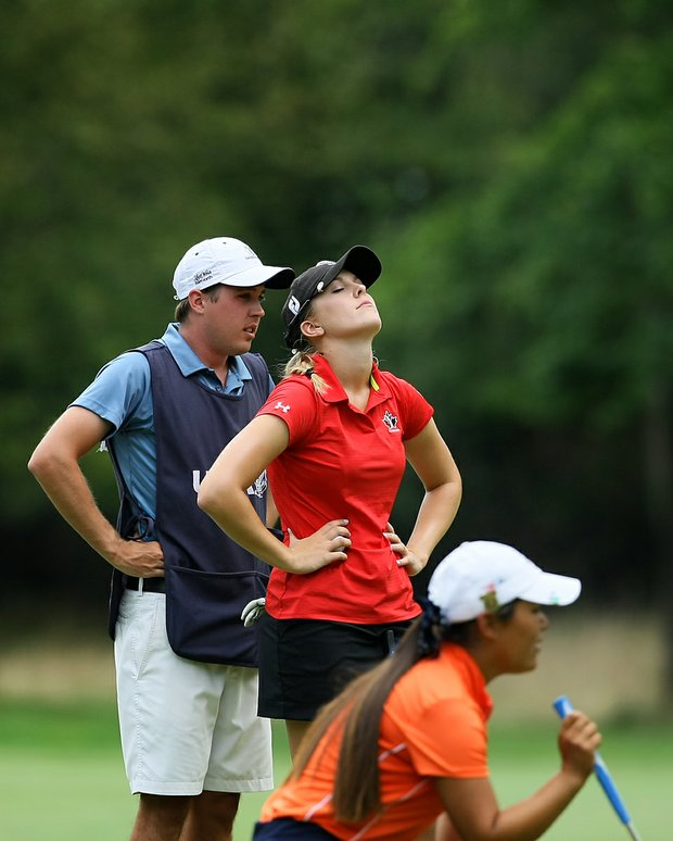Jennifer Kirby at No. 9 playing against Lauren Diaz-Yi during the Round of 64 at the 112th U. S. Women's Amateur Championship.
