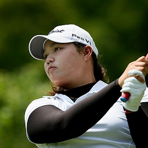Ariya Jutanugarn hits her tee shot at No 1 during the Round of 64 at the 112th U. S. Women's Amateur Championship.
