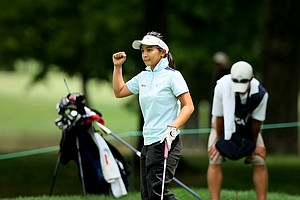 Jayvie Marie Agojo celebrates defeating Emily Childs at No. 18, 1 up during the Round of 64 at the 112th U. S. Women's Amateur Championship.