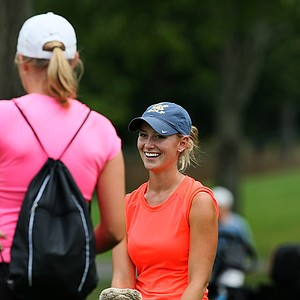 Emily Childs looks toward her sister, Carly Childs, after losing during the Round of 64 at the 112th U. S. Women's Amateur Championship. Carly is following in her sister's footsteps and attending California.