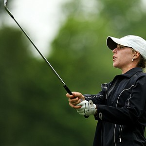 Isabelle Lendl hits a shot at No. 12 during the Round of 32 at the 112th U. S. Women's Amateur Championship. Lendl lost her match to Hyo-Joo Kim.