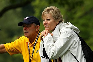 Twyla and Mark Anderson watch their daughter, Amy, during the Round of 32 at the 112th U. S. Women's Amateur Championship. Their son, Nathan, playing part of caddie. Amy lost to Lydia Ko.