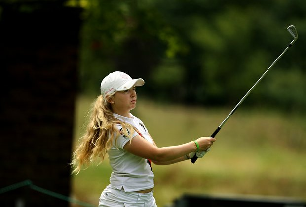 Bronte Law of England during the Round of 32 at the 112th U. S. Women's Amateur Championship.