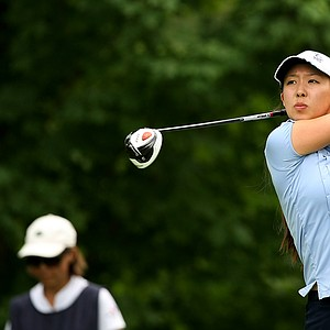 Nicole Zhang hits her tee shot at No. 13 during the Round of 16 at the 112th U. S. Women's Amateur Championship. She defeated Korean Hyo-Joo Kim to advance.