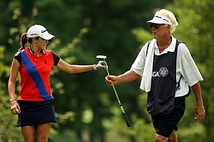 Jaye Marie Green with her dad/caddie Donnie during the Round of 16 at the 112th U. S. Women's Amateur Championship. Green defeated Lisa McCloskey to advance to Round of 16.