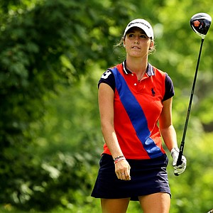 Jaye Marie Green watches her tee shot at No. 13 during the Round of 16 at the 112th U. S. Women's Amateur Championship at The Country Club in Cleveland. Green advanced to the quarterfinals by defeating Lisa McCloskey.