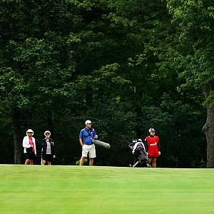 Ariya Jutanugarn hits a shot from No. 16 fairway during the Round of 16 at the 112th U. S. Women's Amateur Championship. Jutanugarn advanced by defeating Ashlee Dewhurst.