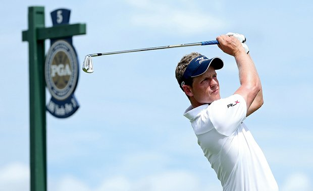 Luke Donald hits a shot on the 5th tee during a practice round of the 94th PGA Championship at the Ocean Course on August 8, 2012 in Kiawah Island, South Carolina.