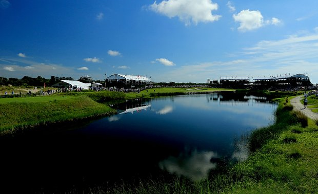 A general view of the 17th green during Round One of the 94th PGA Championship at the Ocean Course on August 9, 2012 in Kiawah Island, S.C.