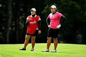 Ariya and Moriya Jutanugarn during the quarterfinals at the 112th U. S. Women's Amateur Championship.
