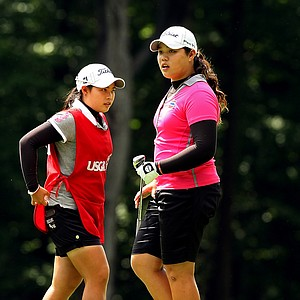 Moriya Jutanugarn, left, and her sister, Ariya, during the quarterfinals at the 112th U. S. Women's Amateur Championship. Ariya defeated Erynne Lee to advance to the semifinals.