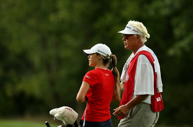 Jaye Marie Green and her father/caddie Donnie during the quarterfinals at the 112th U. S. Women's Amateur Championship.