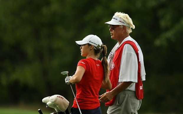Jaye Marie Green with her dad/caddie, Donnie during the quarterfinals at the 112th U. S. Women's Amateur Championship.