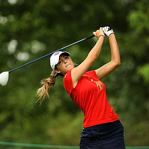 Jaye Marie Green, 18, hits her tee shot at No. 8 during the quarterfinals at the 112th U. S. Women's Amateur Championship. Green will face Nicole Zhang in the semifinals.