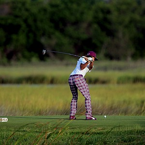 Rickie Fowler hits off the tenth tee during Round Two of the 94th PGA Championship at the Ocean Course on August 10, 2012 in Kiawah Island, S.C.