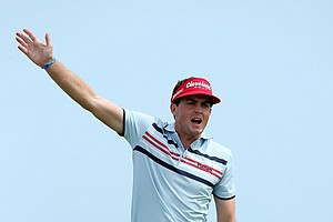 Keegan Bradley hits off the sixth tee during Round 2 of the 94th PGA Championship at the Ocean Course.