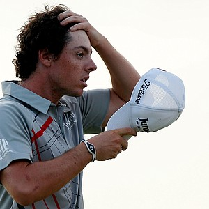 Rory McIlroy takes his hat off on the 18th green after finishing Round Two of the 94th PGA Championship at the Ocean Course on August 10, 2012 in Kiawah Island, S.C.