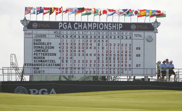 The leaderboard at the PGA Championship.
