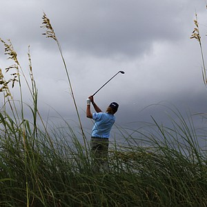 Miguel Angel Jimenez watches his drive from the fourth tee during the second round of the PGA Championship.