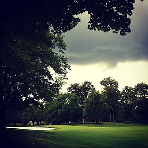 The rain was off and on during the quarterfinals at the 112th U. S. Women's Amateur Championship.