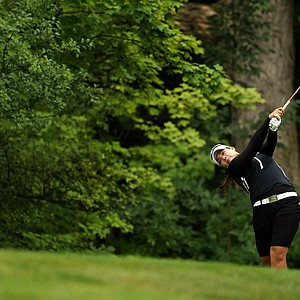 Ariya Jutanugarn hits her tee shot at No. 2 during the semifinals at the 112th U. S. Women's Amateur Championship.