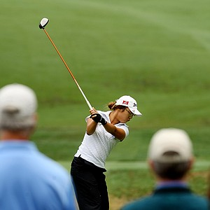 Lydia Ko hits her tee shot at No. 6 during the semifinals at the 112th U. S. Women's Amateur Championship.