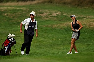 Jaye Marie Green along with her dad/caddie, Donnie watch her shot closely during the semifinals at the 112th U. S. Women's Amateur Championship.