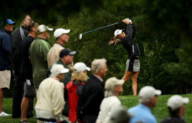 Jaye Marie Green hits her tee shot at No. 15 during the semifinals at the 112th U. S. Women's Amateur Championship. Green defeated Nicole Zhang, 2&1.