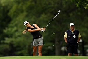 Jaye Marie Green hits her shot at No. 17 during the semifinals at the 112th U. S. Women's Amateur Championship.