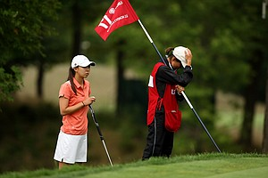 Nicole Zhang with her caddie/mom during the semifinals at the 112th U. S. Women's Amateur Championship.