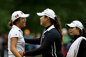 Ariya Jutanugarn, center, conceded her match at No. 17 to Lydia Ko, left, during the semifinals at the 112th U. S. Women's Amateur Championship. Ko of New Zealand will face Jaye Marie Green of Boca Raton, Fla. in the finals.