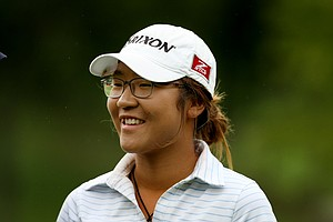 Lydia Ko is all smiles after defeating Ariya Jutanugarn, 3&1 during the semifinals at the 112th U. S. Women's Amateur Championship.