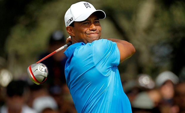 Tiger Woods hits off the seventh tee during the second round of the 94th PGA Championship at the Ocean Course on August 10, 2012 in Kiawah Island, S.C.