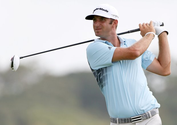 Dustin Johnson hits off the 11th tee during Round Three of the 94th PGA Championship at the Ocean Course on August 11, 2012 in Kiawah Island, S.C.