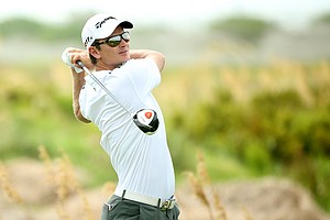 Justin Rose hits off the sixth tee during the third round of the 94th PGA Championship at the Ocean Course.