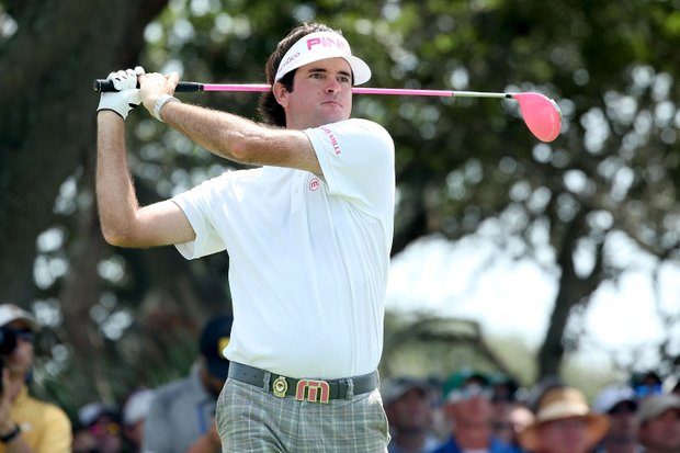 Bubba Watson hits off the seventh tee during Round Three of the 94th PGA Championship at the Ocean Course on August 11, 2012 in Kiawah Island, S.C.