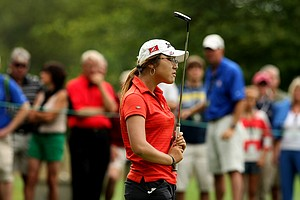 Lydia Ko of New Zealand reacts to missing her birdie putt at No. 10 during the finals at the 112th U. S. Women's Amateur Championship.