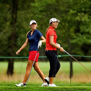 Jaye Marie Green of Boca Raton, Fla., and Lydia Ko of New Zealand at No. 13 during the finals at the 112th U. S. Women's Amateur Championship.