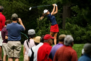 Jaye Marie Green of Boca Raton, Fla., hits her tee shot at No. 15 during the finals at the 112th U. S. Women's Amateur Championship.