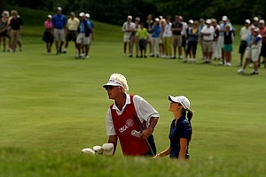 Donnie Green and his daughter Jaye Marie Green during the finals at the 112th U. S. Women's Amateur Championship.
