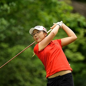 Lydia Ko of New Zealand hits her tee shot at No. 2 during the second round of during the finals at the 112th U. S. Women's Amateur Championship.