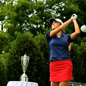 Jaye Marie Green tees off for the second 18 during the finals at the 112th U. S. Women's Amateur Championship at The Country Club in Cleveland.