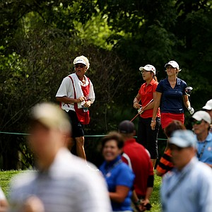 Lydia Ko of New Zealand and Jaye Marie Green at No. 13 during the second round of the finals at the 112th U. S. Women's Amateur Championship at The Country Club in Cleveland. Ko defeated Green 3&1,