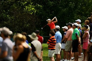 Lydia Ko hits her tee shot at No. 13 during the second round of the finals at the 112th U. S. Women's Amateur Championship.