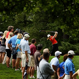 Lydia Ko hits her tee shot at No. 18 during the finals at the 112th U. S. Women's Amateur Championship at The Country Club in Cleveland. Ko defeated Jaye Marie Green, 3&1.