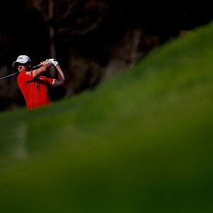 Rory McIlroy hits a shot on the 13th hole during the 94th PGA Championship at the Ocean Course.